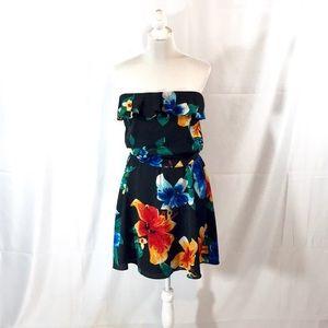 WHBM strapless ruffled top floral tie waist dress